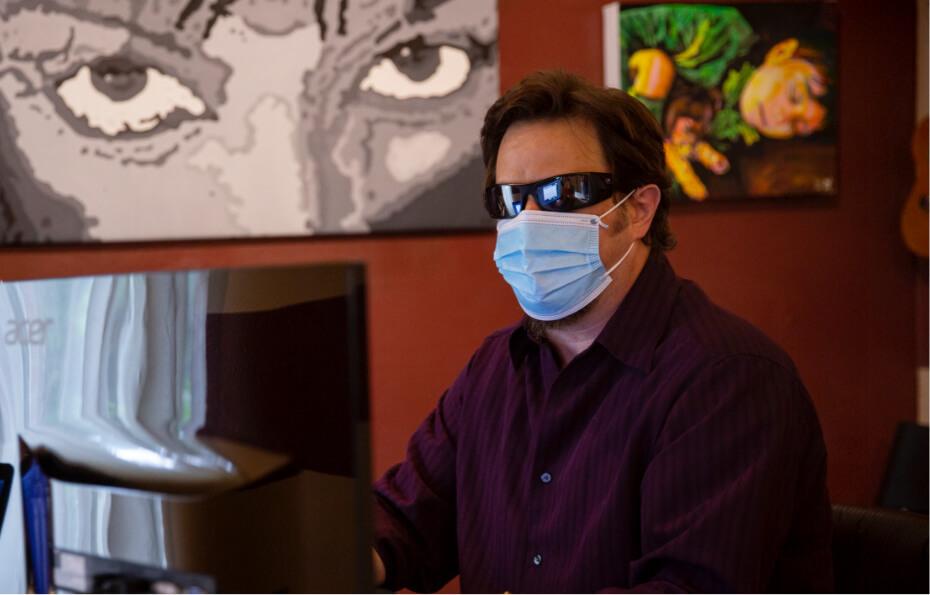 Blind man using computer